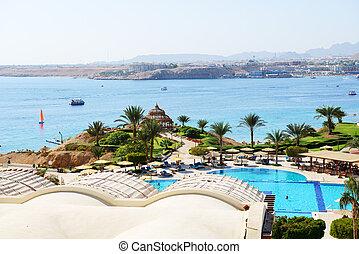 The beach at luxury hotel, Sharm el Sheikh, Egypt