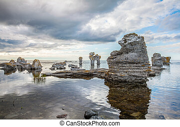 Rock formation on Gotland - Raukar on Gotland, Sweden.