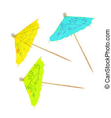 Party parasol - Paper party parasol isolated on white...