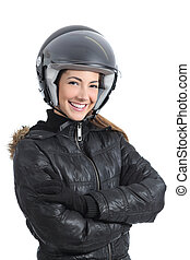 Beautiful urban biker woman with a helmet isolated on a...
