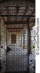 Gate of the Cloister - Wrought Iron Gate with Door to the...
