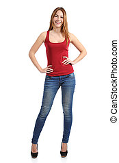 Front view of a beautiful standing woman model posing...