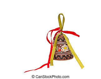 Hand crafted ceramic decoration. - Photo Christmas Bell hand...