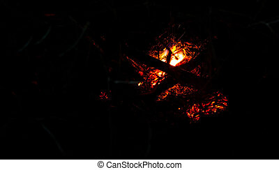Burning Ember Abstract - Burning ember abstract at night...