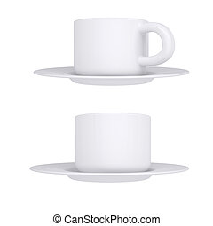 White coffee cup and saucer. Isolated render on a white...