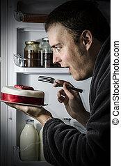 pastel, comida, refrigerador