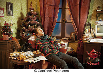 Christmas day - The son of Santa Claus sleeping in an...
