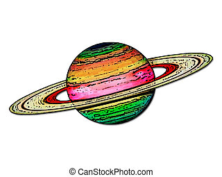 Saturn  - Colorful planet Saturn.