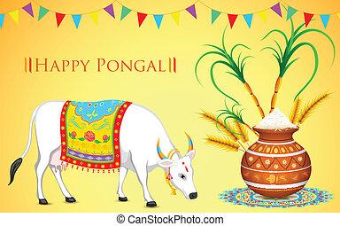 Happy Pongal - illustration of Happy Pongal greeting...