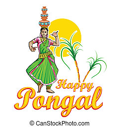 Happy Pongal - illustration of Happy Pongal greeting...