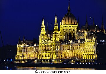 Parliament building in Budapest, Hungary - Night view of...
