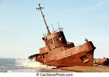 Ship - Old abandoned ship on the sea, beat waves