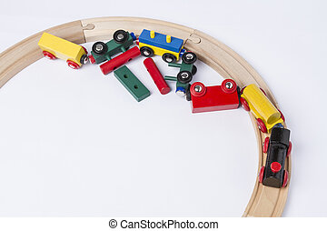 crashed wooden toy train - derail wooden toy train in top...