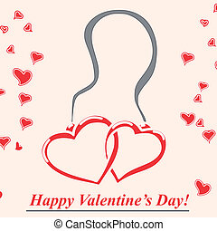 pendent with two hearts - greeting card with a pendent...