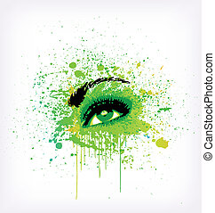 Grunge abstraction green make-up. Vector