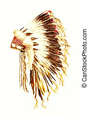 Arapaho War Bonnet - Watercolor Painting of a Native...