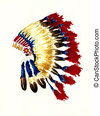 Cherokee Headdress - Watercolor Painting of a Native...