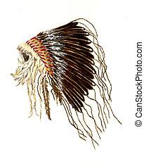 Plains Indians War Bonnet - Watercolor Painting of a Native...