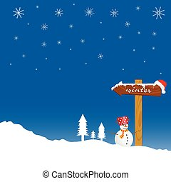 snowman and winter idyll color vector illustration