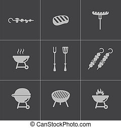 Vector black barbecue icons set on gray background