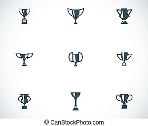 Vector black trophy icons set