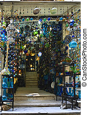 Khan el-Khalili glass shop - Scene from the Khan El Khalili...