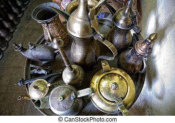 Iron pottery tray - Scene from the Khan El Khalili bazaar in...