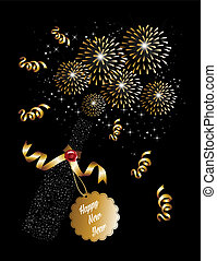 Happy new year 2014 champagne fireworks background