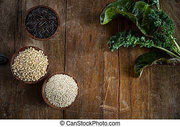 Brown Rice, Quinoa and Wild Rice - Fun with food, small wood...