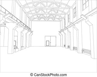 Factory environment. Wire-frame. Vector EPS10 format. Vector...