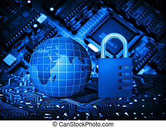Futuristic integrated circuit, code lock and globe. The...