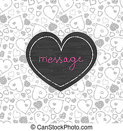 Chalkboard red art hearts frame seamless pattern background...
