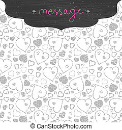 Chalkboard art hearts frame seamless pattern background -...