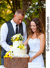 Bride and Groom Cutting Cake - Bride and groom share in the...