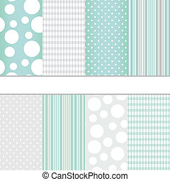 Set of seamless patterns - Set of blue pastel and grey jumbo...