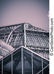 vintage like photo, roof of a big greenhouse