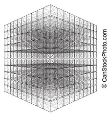 Cut Cube With Hidden Lines Vector