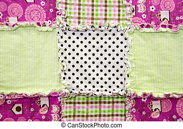 flannel patchwork quilt - Close up of a flannel quilt with...