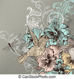 Elegant floral background with flowers and humming birds -...