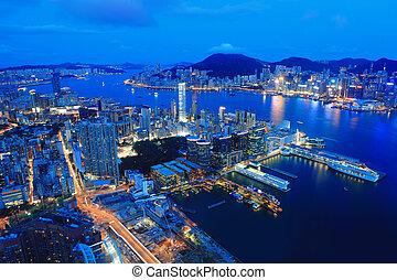 Hong Kong night view in panorama