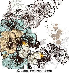Grunge vector background - Floral invitation background with...