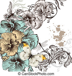 Grunge vector background with violent flowers for design -...