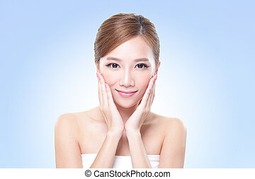 young skin care woman face