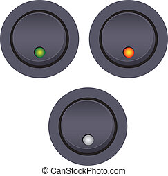 Light switch on-off with LED indicator. Vector illustration.