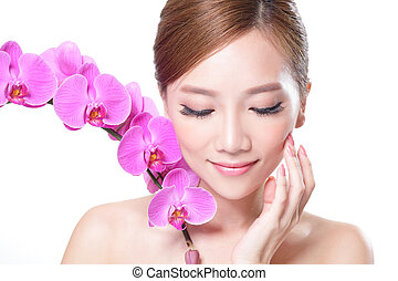 beautiful face  with orchids