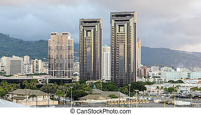 Skyline of Honolulu with residential towers against the...