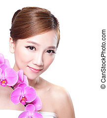 Beauty  face with orchids