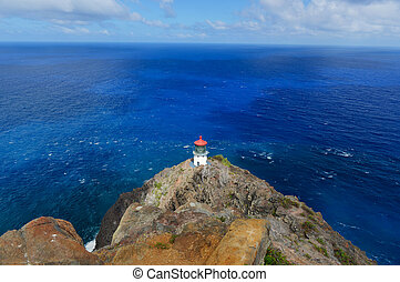 Makapuu Point lighthouse off Oahu, Hawaii, off of the coast...