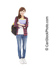 full length smiling university student girl standing