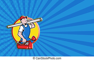 Plumber With Pipe Toolbox Cartoon - Business card template...